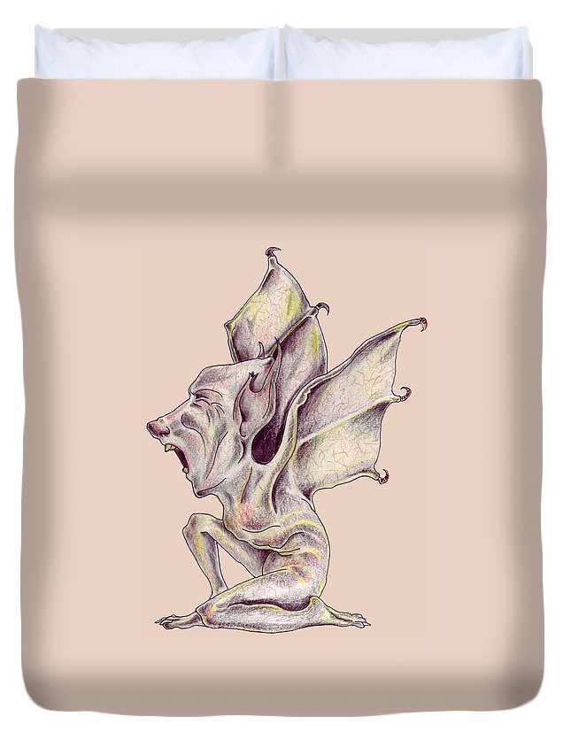 Bat Rat Man Drawings Color Pencil Duvet Cover featuring the drawing That Bat Man Rat by Veronica Jackson