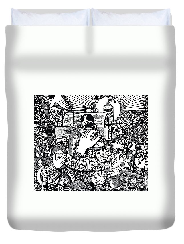 Drawing Duvet Cover featuring the drawing That We Die Is What Living Means by Jose Alberto Gomes Pereira