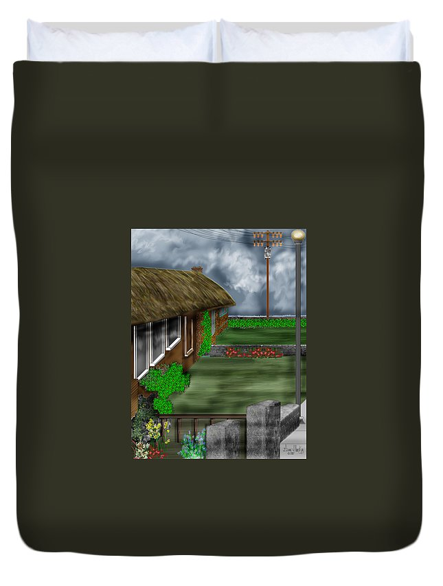 Cottages Duvet Cover featuring the painting Thatched Roof Cottages In Ireland by Anne Norskog