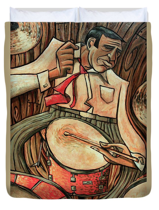 Buddy Rich Duvet Cover featuring the painting That's Rich by Sean Hagan