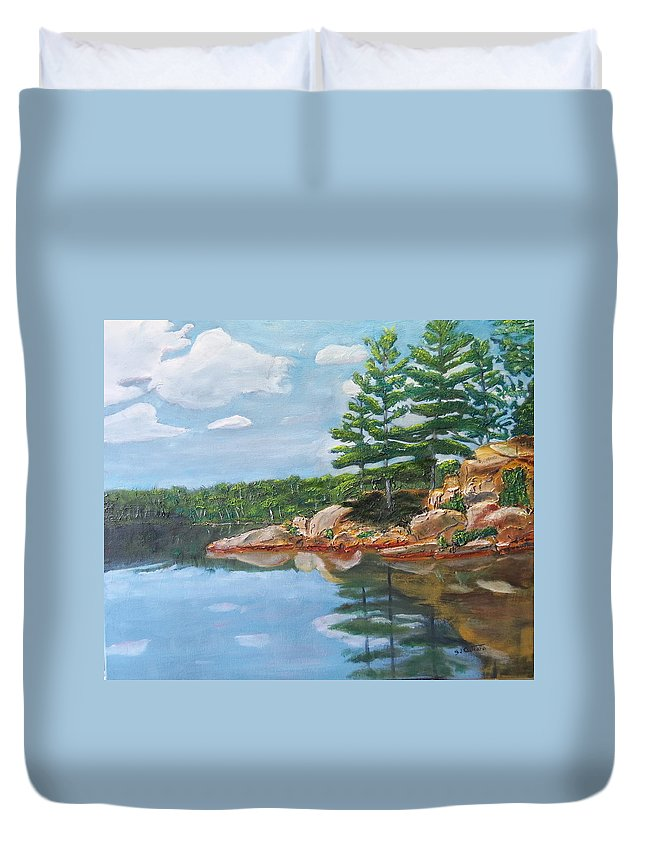 Scenery Duvet Cover featuring the painting That's The Point by Sal Cutrara