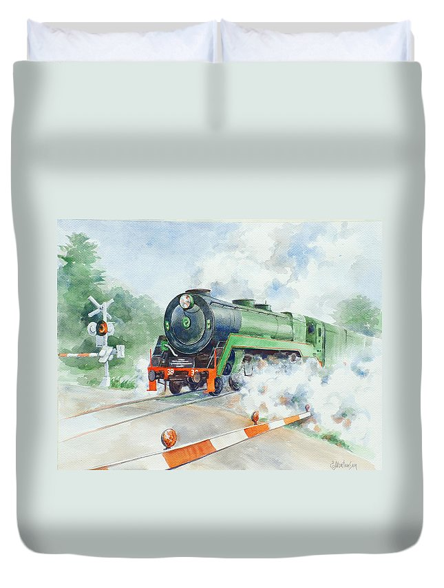 Watercolor Duvet Cover featuring the painting The 3830 At Robertson by Ekaterina Mortensen
