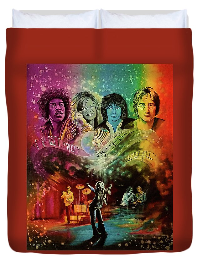 Hendrix Duvet Cover featuring the painting The 4js by DC Houle