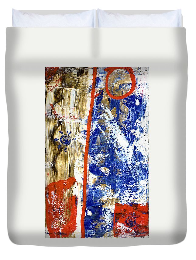 Abstract Duvet Cover featuring the painting The 4th by Wayne Potrafka