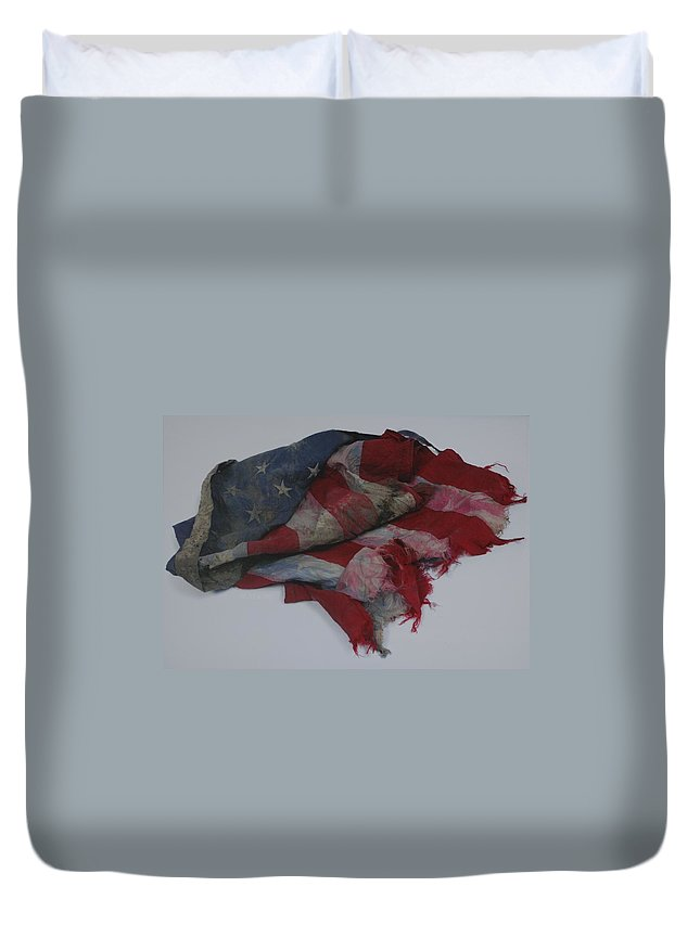 911 Duvet Cover featuring the photograph The 9 11 W T C Fallen Heros American Flag by Rob Hans