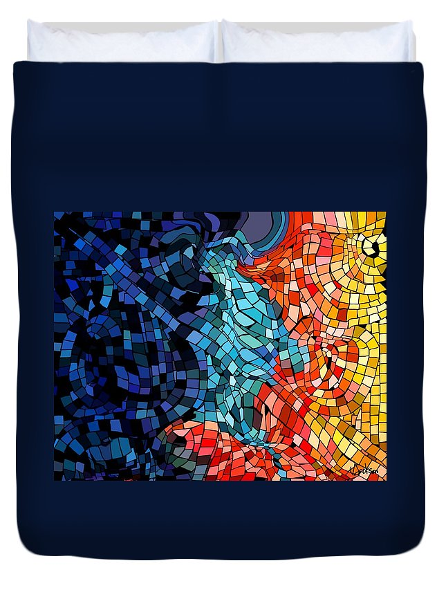 Kiss Colors Digital Abstract Duvet Cover featuring the digital art The Abstract Kiss by Veronica Jackson