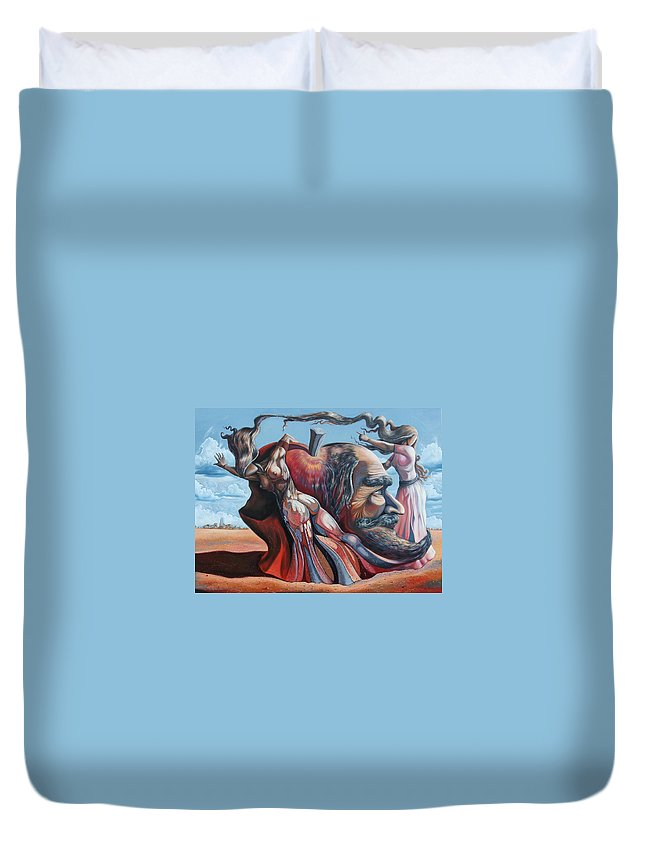 Surrealism Duvet Cover featuring the painting The Adam-eve Delusion by Darwin Leon