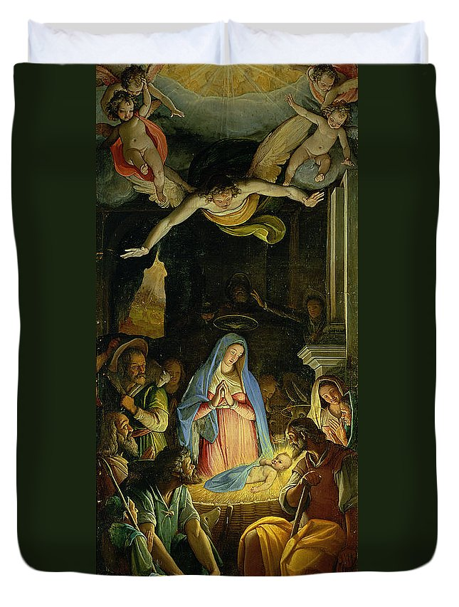 Christmas Duvet Cover featuring the painting The Adoration Of The Shepherds by Federico Zuccaro