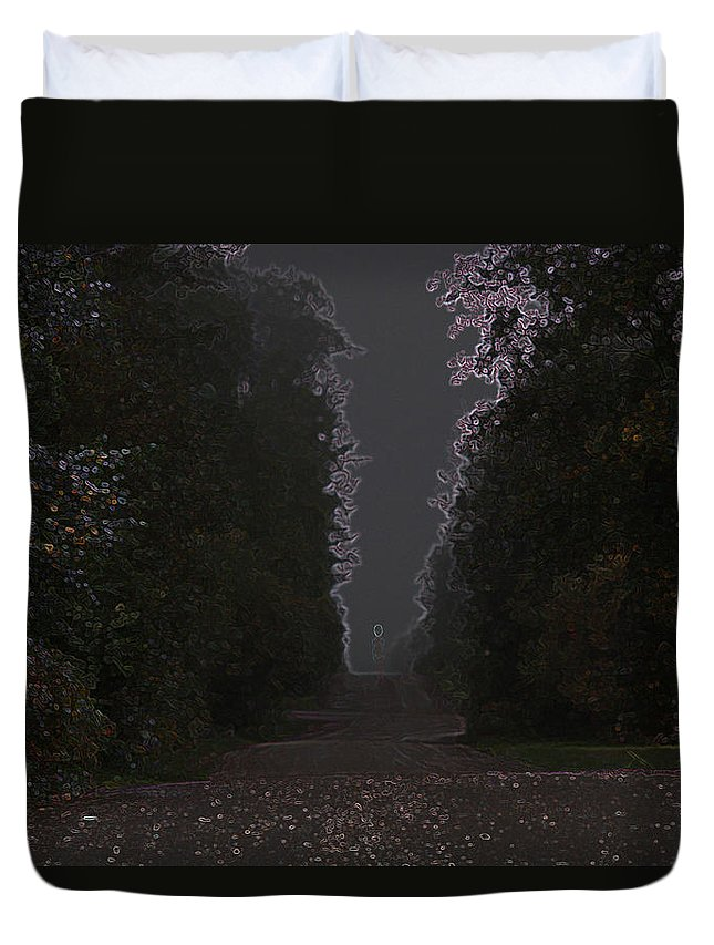 Road Ghost Boy Trees Laneway Treed Nature Colorful Leaves Plants Stones Duvet Cover featuring the photograph The Adventurer by Andrea Lawrence