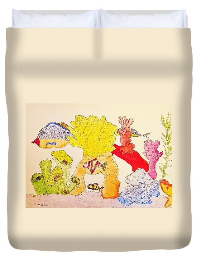 Water Duvet Cover featuring the painting The Age Of Aquarium by Rand Swift