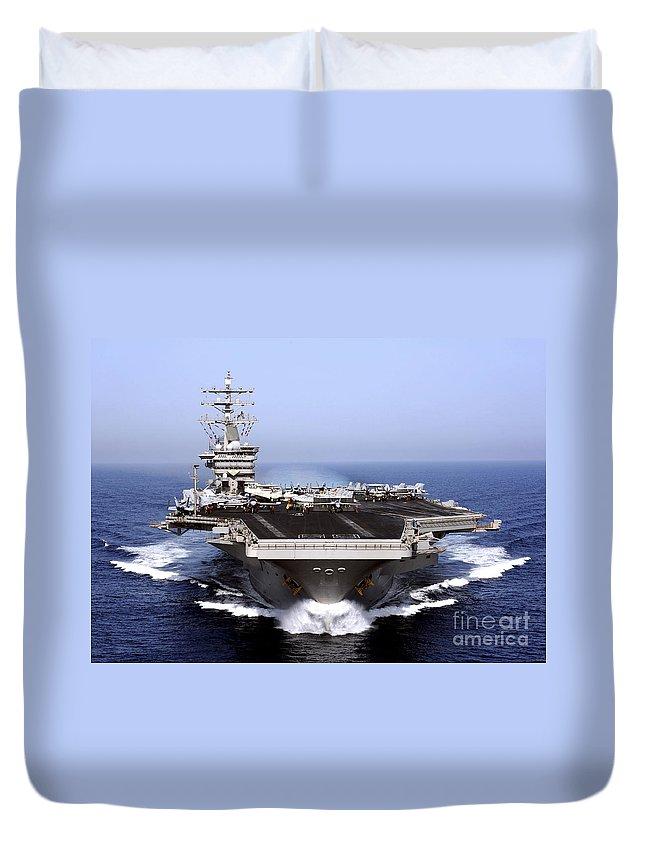 Flight Deck Duvet Cover featuring the photograph The Aircraft Carrier Uss Dwight D by Stocktrek Images