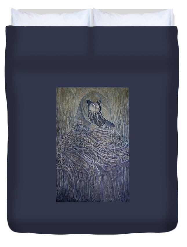 Figurativ Duvet Cover featuring the painting The Alchemist  by Arkis Krayl