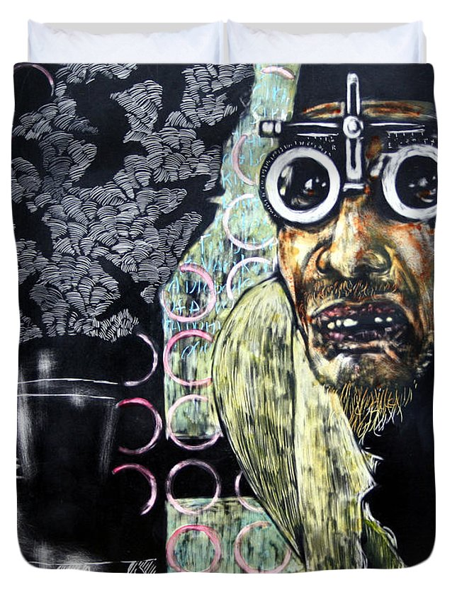 Scratchboard Duvet Cover featuring the mixed media The Alchemist by Chester Elmore