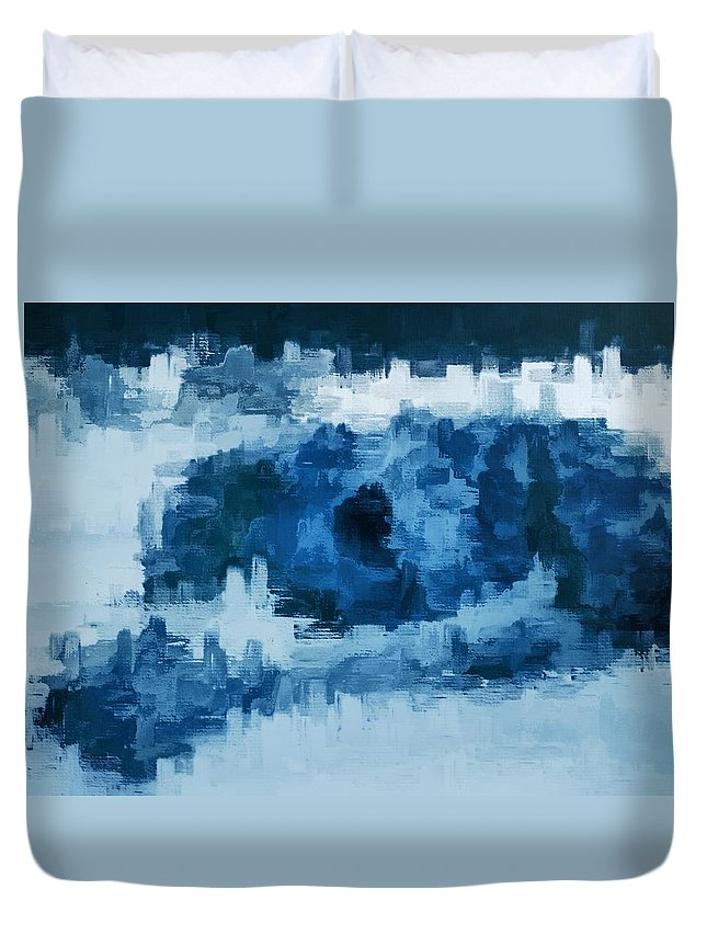 Digital Media Duvet Cover featuring the digital art The All Seeing Blue Eye by Sheli Ronnen