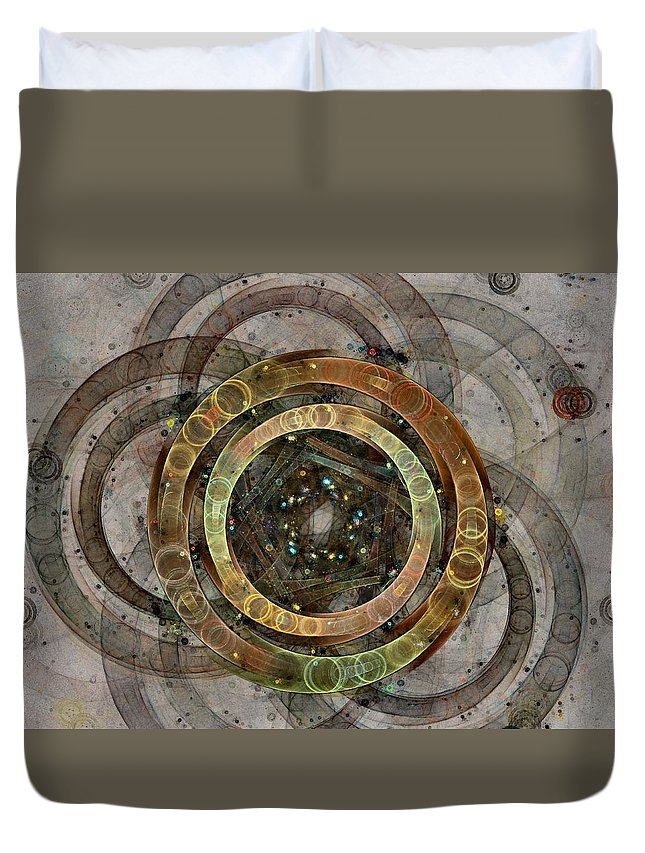 Circles Duvet Cover featuring the digital art The Almagest - Homage To Ptolemy - Fractal Art by NirvanaBlues