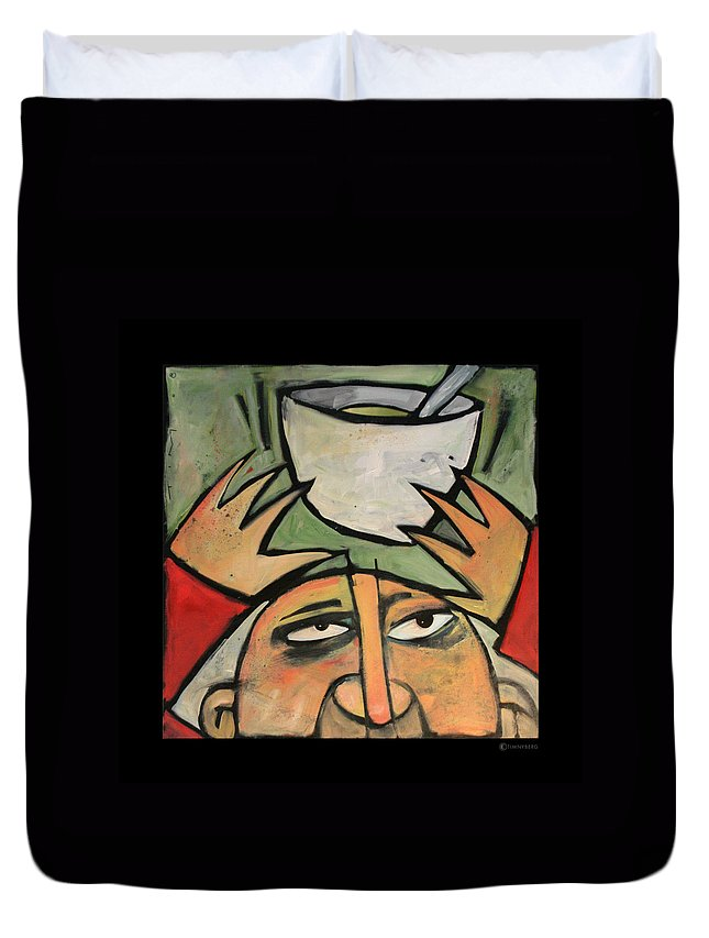 Humor Duvet Cover featuring the painting The Amazing Brad Soup Juggler by Tim Nyberg