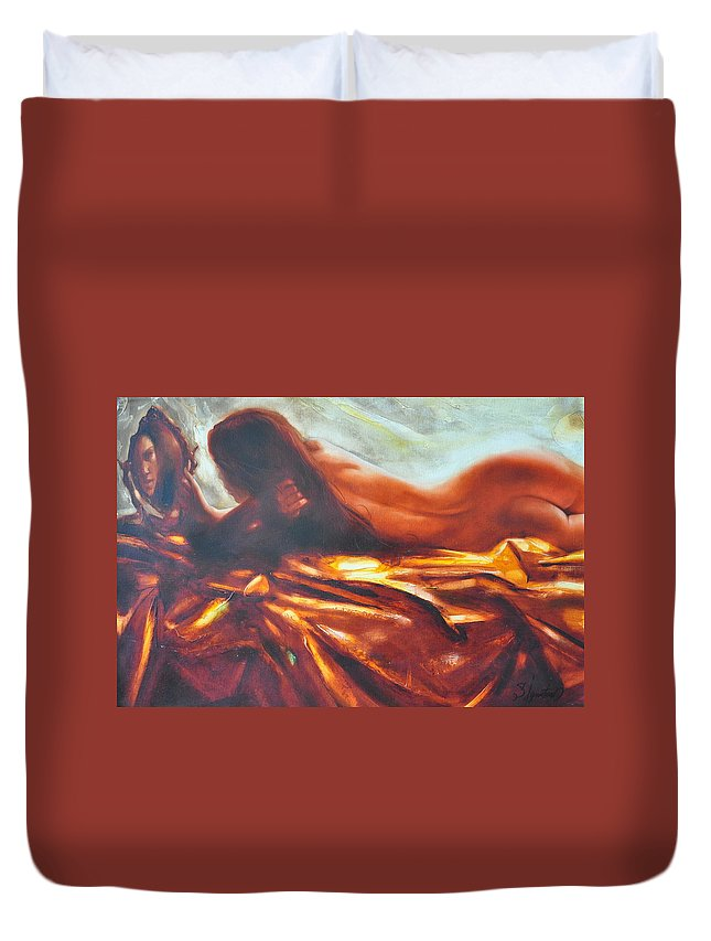 Painting Duvet Cover featuring the painting The amber speck of light by Sergey Ignatenko