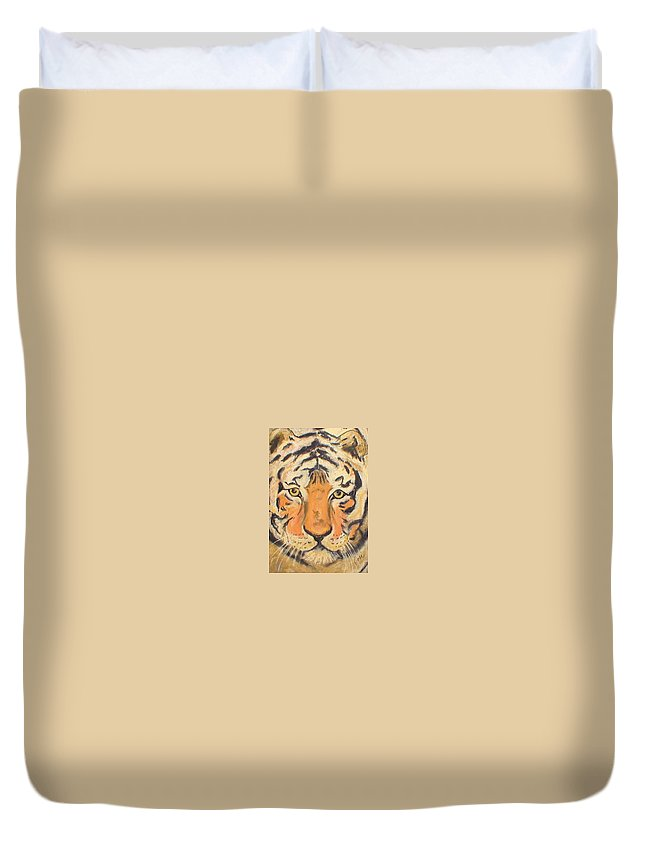 Pastel Duvet Cover featuring the drawing The Amber Stare by Cori Solomon