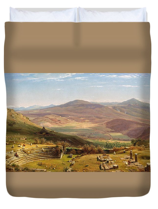Worthington Whittredge Duvet Cover featuring the painting The Amphitheatre Of Tusculum And Albano Mountains. Rome by Worthington Whittredge
