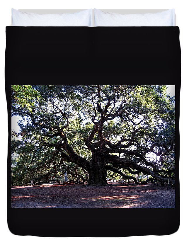Angel Oak Duvet Cover featuring the photograph The Angel Oak In Charleston Sc by Susanne Van Hulst