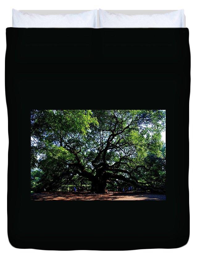 Angel Oak Duvet Cover featuring the photograph The Angel Oak In Summer by Susanne Van Hulst