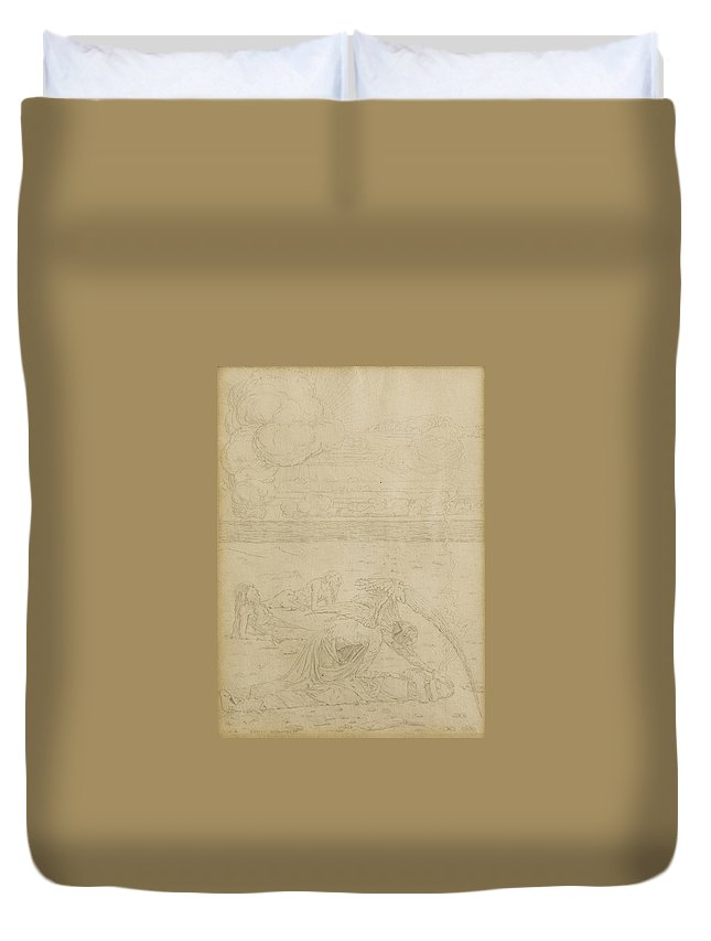 Carlos Schwabe Duvet Cover featuring the drawing The Angel Of Death by Carlos Schwabe
