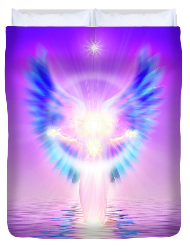 Endre Duvet Cover featuring the digital art The Angel Of Divine Protection by Endre Balogh