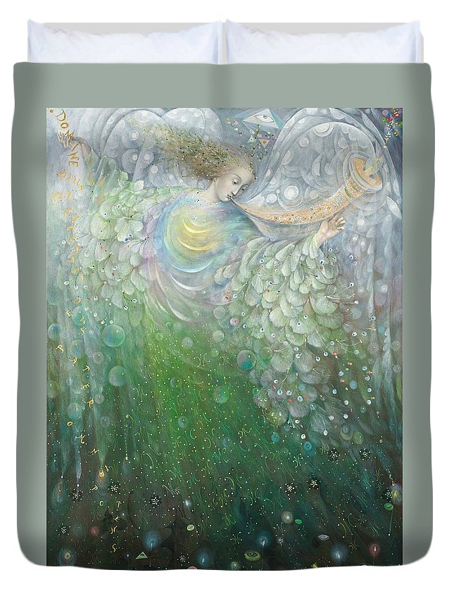 Angel Duvet Cover featuring the painting The Angel Of Growth by Annael Anelia Pavlova