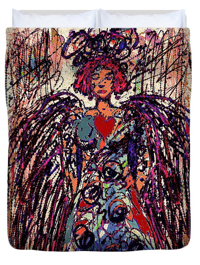 Natalie Holland Art Duvet Cover featuring the mixed media The Angel Of Love by Natalie Holland