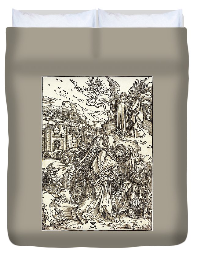 Durer Duvet Cover featuring the drawing The Angel With The Key To The Bottomless Pit by Albrecht Durer