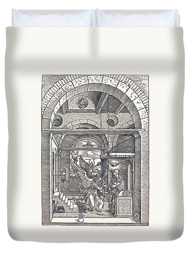 Durer Duvet Cover featuring the drawing The Annunciation by Albrecht Durer