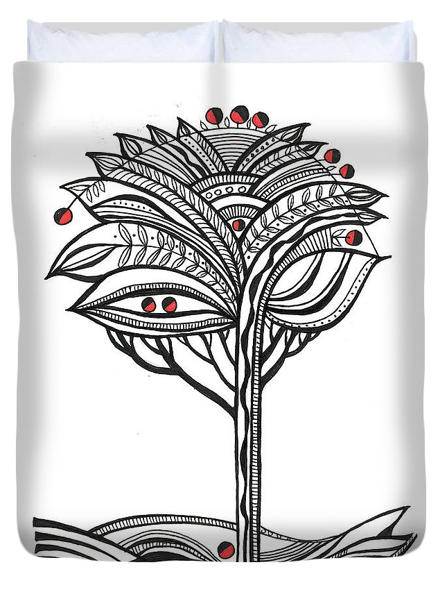 Abstract Duvet Cover featuring the drawing The Apple Tree by Aniko Hencz