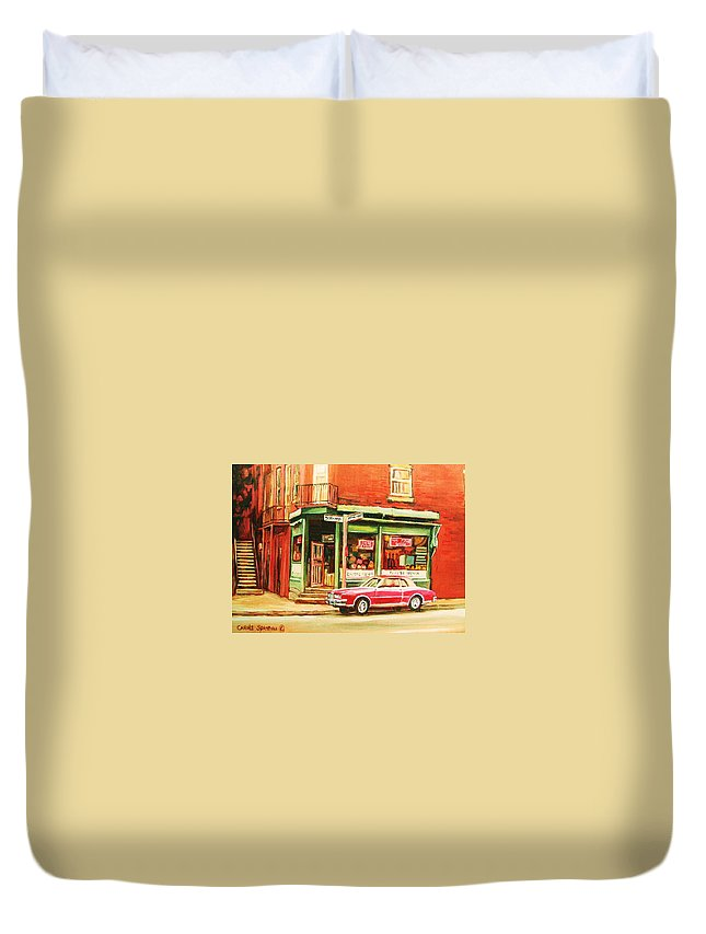 Montreal Duvet Cover featuring the painting The Arcadia Five And Dime Store by Carole Spandau