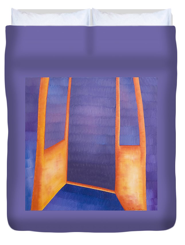 Death Duvet Cover featuring the painting The Arrival by Judy Henninger