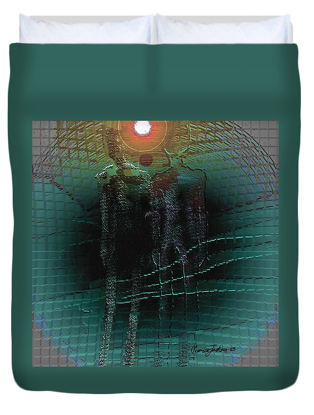People Alien Arrival Visitors Duvet Cover featuring the digital art The Arrival by Veronica Jackson