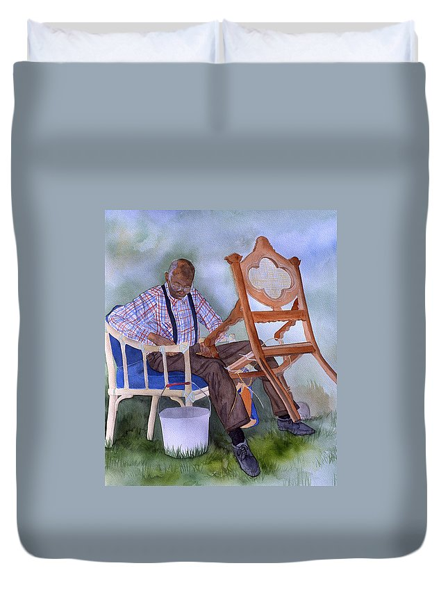 Portrait Duvet Cover featuring the painting The Art Of Caning by Jean Blackmer