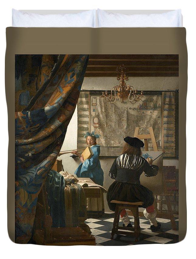 Jan Vermeer Duvet Cover featuring the painting The Art Of Painting by Jan Vermeer