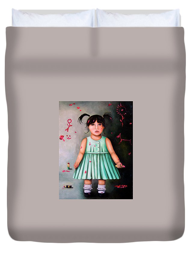 Baby Duvet Cover featuring the painting The Artist-beginning Of A Child Prodigy by Leah Saulnier The Painting Maniac