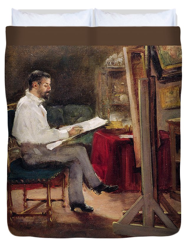 Man Duvet Cover featuring the painting The Artist Morot In His Studio by Gustave Caillebotte
