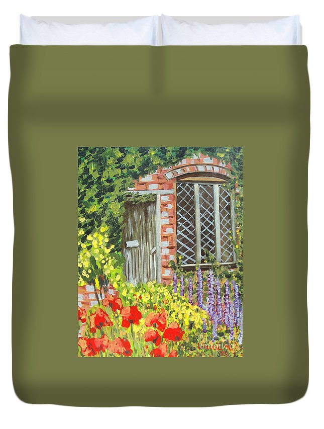 Windows Duvet Cover featuring the painting The Artist's Cottage by Laurie Morgan