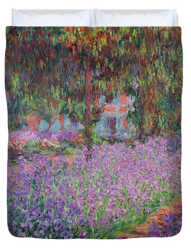 The Duvet Cover featuring the painting The Artists Garden At Giverny by Claude Monet
