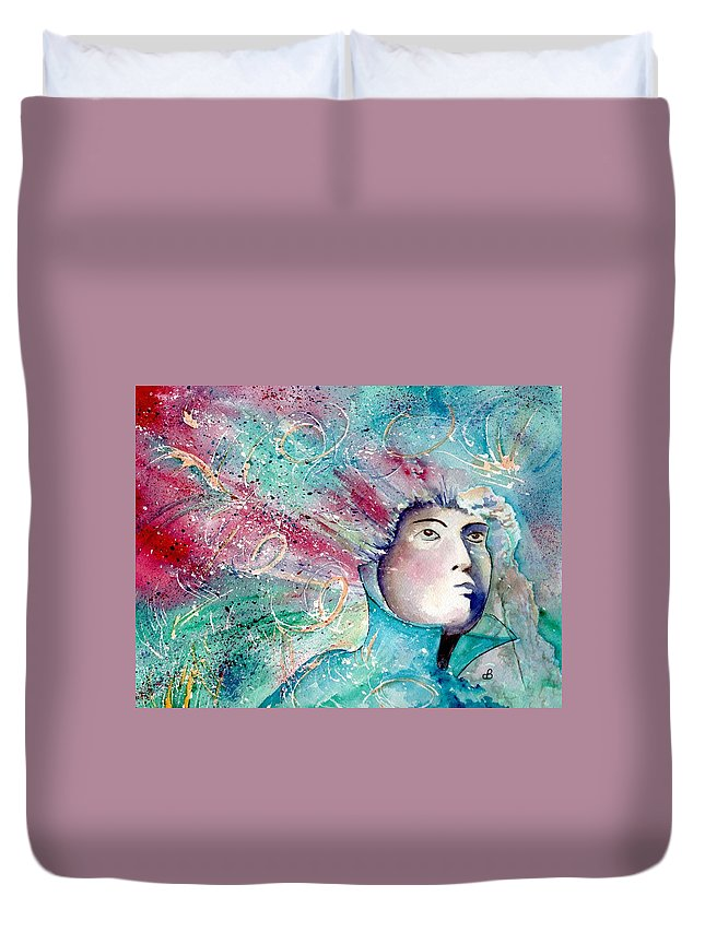 Watercolor Duvet Cover featuring the painting The Artist's Mind by Brenda Owen