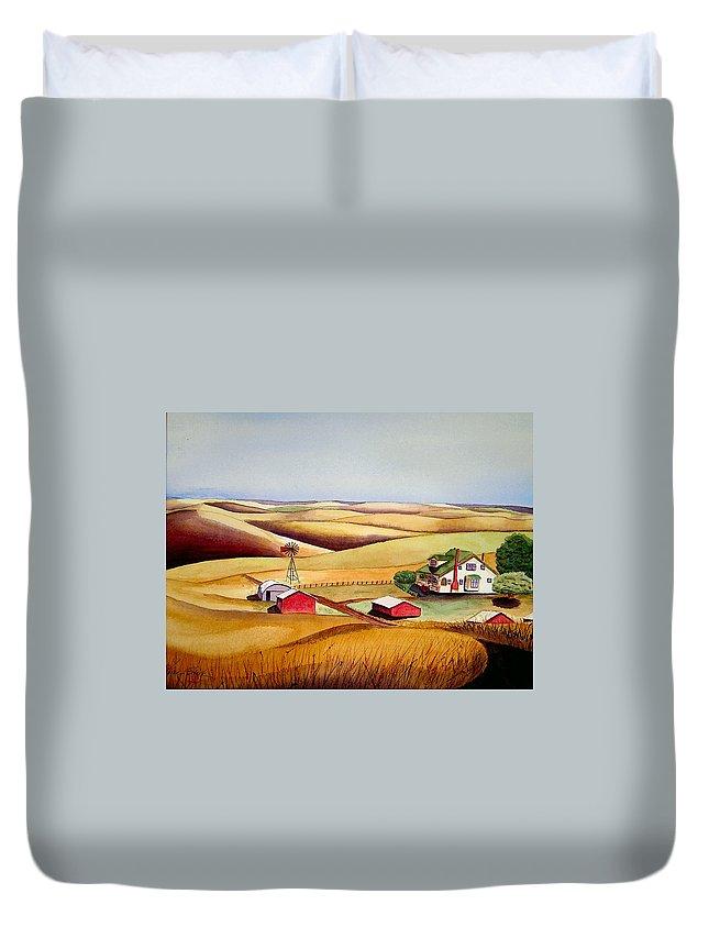 Landscape Duvet Cover featuring the painting The Aune Farm by Karen Stark