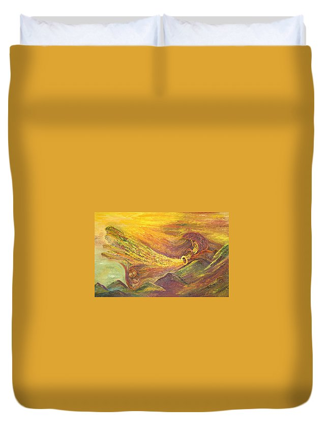 Autumn Duvet Cover featuring the painting The Autumn Music Wind by Karina Ishkhanova