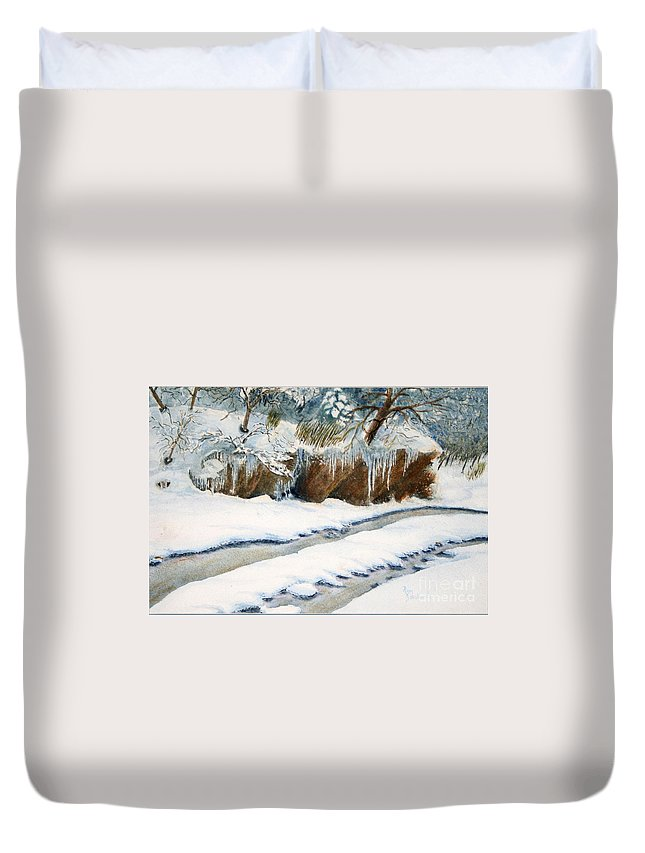 Sokolovich Duvet Cover featuring the painting The Back Road by Ann Sokolovich