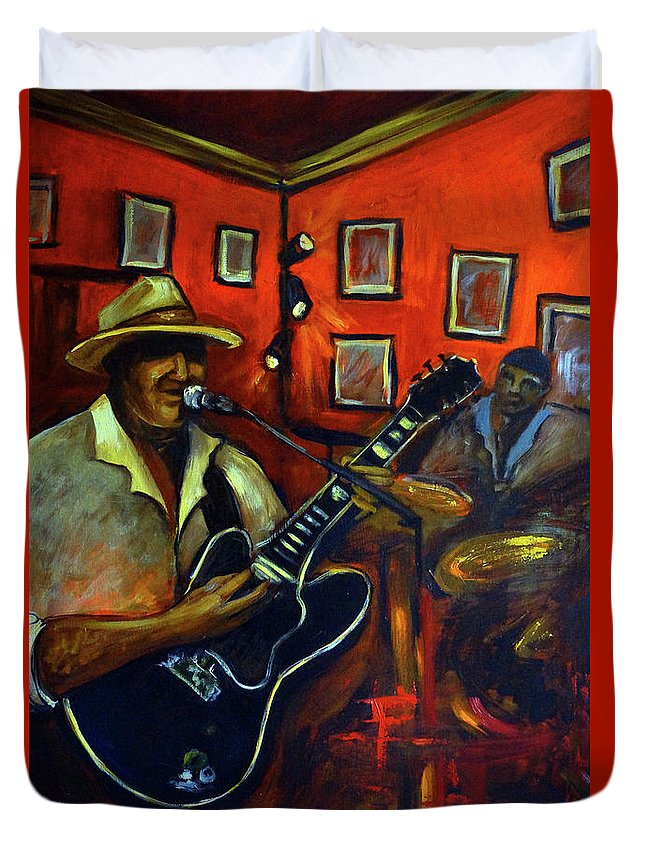 Blues Duvet Cover featuring the painting The Back Room by Valerie Vescovi