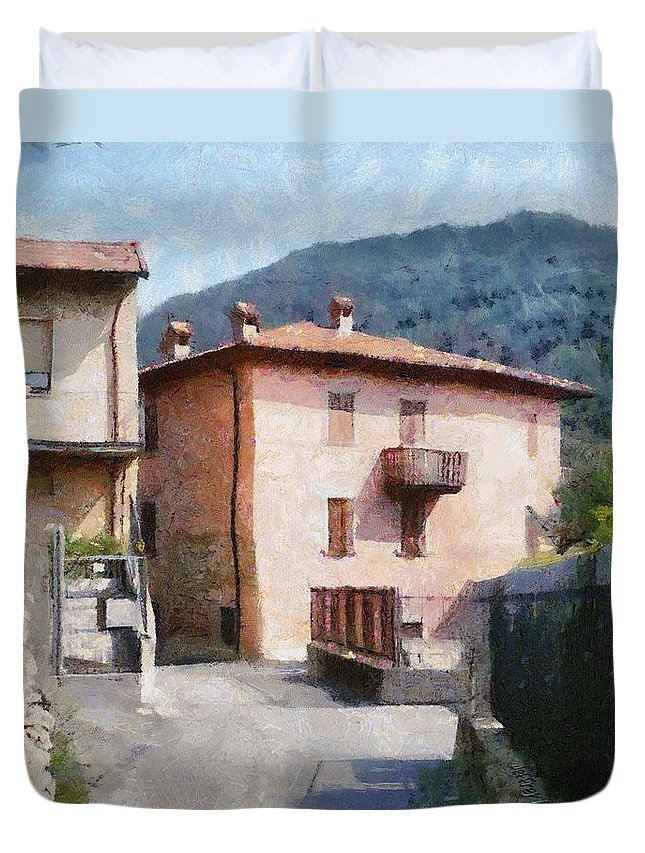 Alps Duvet Cover featuring the painting The Back Street Towards Home by Jeffrey Kolker