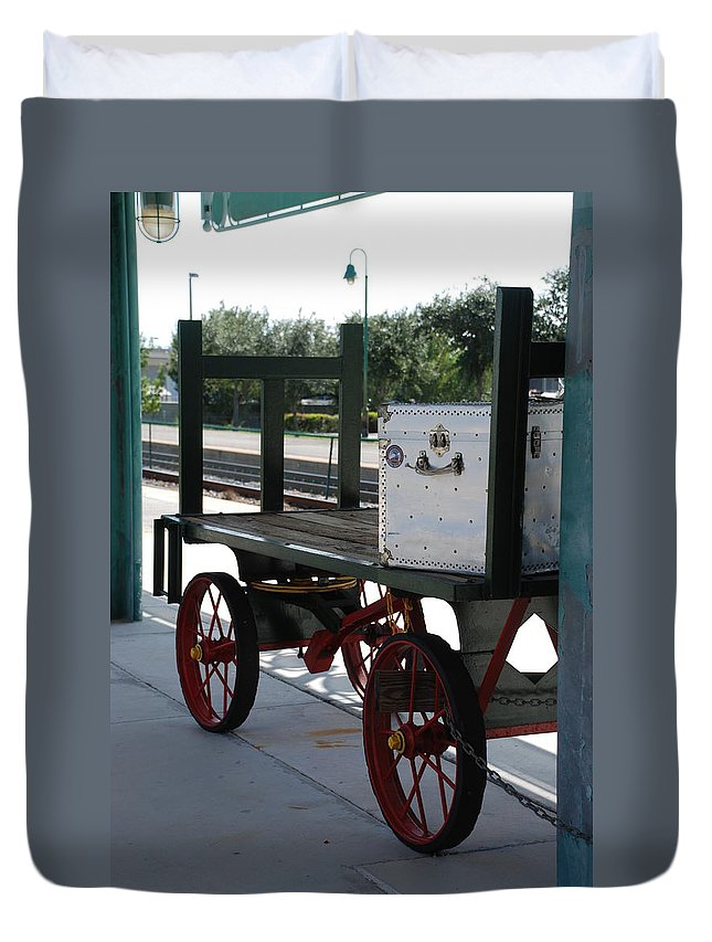 Train Station Duvet Cover featuring the photograph The Baggage Cart And Truck by Rob Hans