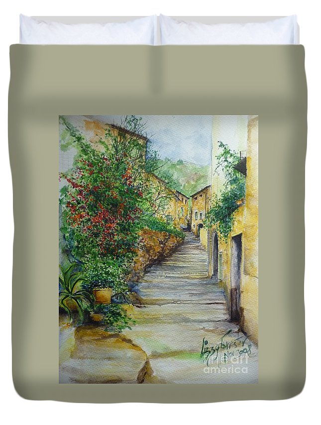 Original Paintings Of Mallorca Duvet Cover featuring the painting The Balearics Typical Spain by Lizzy Forrester