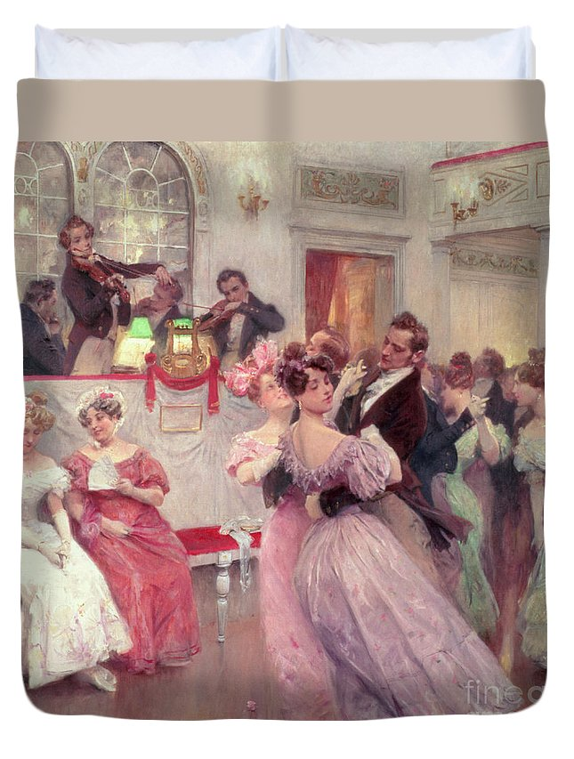 Dancing Duvet Cover featuring the painting The Ball by Charles Wilda